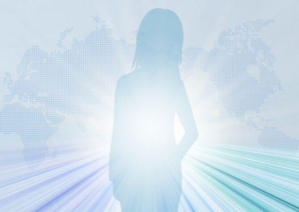 光を浴びる女性のイラスト